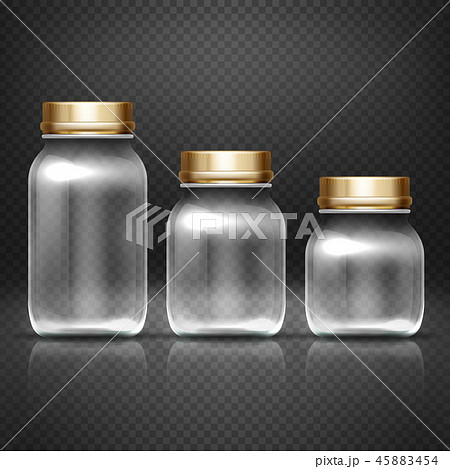 Empty glass jars with lods for grandma kitchen canning preserves vector set 45883454