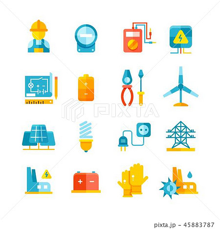 Electricity, electric meter, electrical equipment flat vector icons 45883787