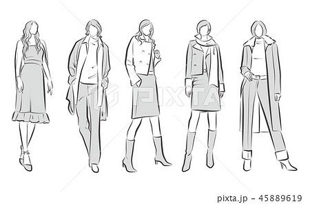 女性のファッションイラスト 45889619