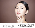 young woman with natural makeup and clean skin 45891287