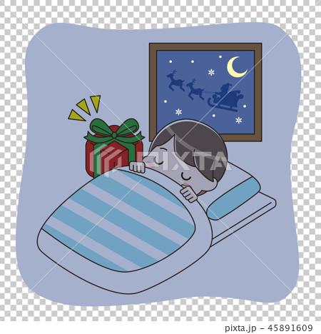 眠っている男の子とプレゼント 45891609