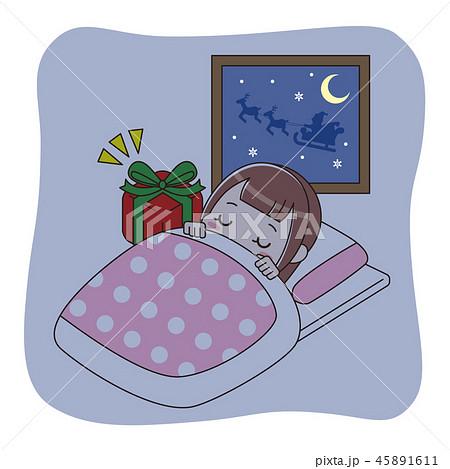 眠っている女の子とプレゼント 45891611