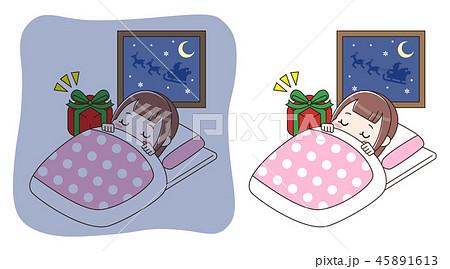 眠っている女の子とプレゼント セット 45891613
