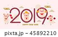 2019 動物 ブタのイラスト 45892210
