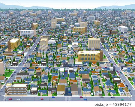 住宅街 空から 俯瞰 街 家 ビルのイラスト素材 [45894177] , PIXTA