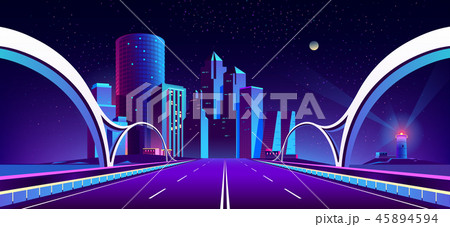 Vector background with night city in neon lights 45894594