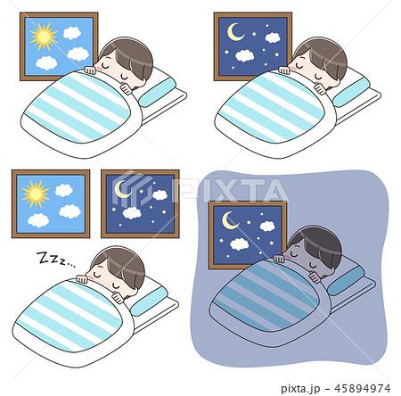 就寝中の男の子 セット 45894974