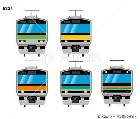 イラスト素材:近郊型車両 山手線・中央線・総武線他・E231系 電車のイラスト・アイコン  45895437
