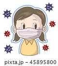 インフルエンザ 風邪 マスクのイラスト 45895800