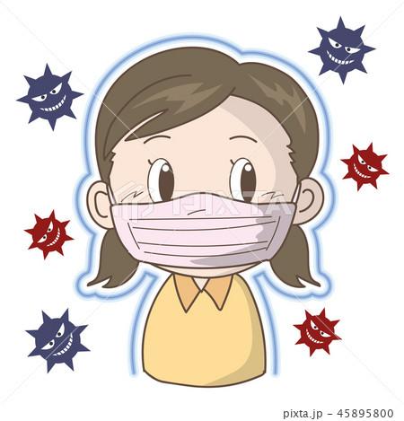 インフルエンザ・風邪予防〈マスク女の子〉 45895800