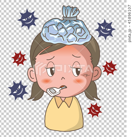 インフルエンザ・風邪の症状〈女の子〉 45896107