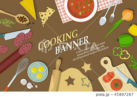 Cooking banner with kitchenware 45897267