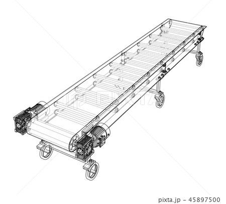 3D outline conveyor belt. Vector rendering of 3d 45897500