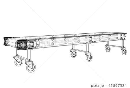 3D outline conveyor belt. Vector rendering of 3d 45897524