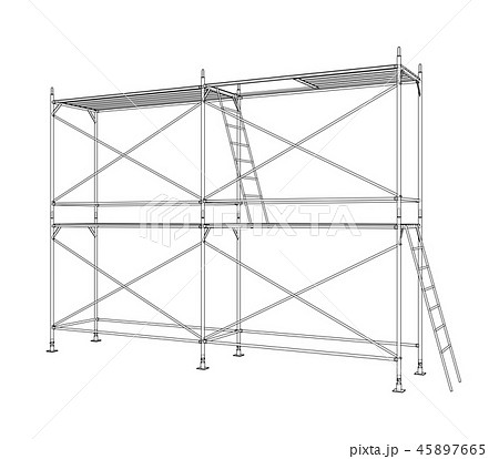 3D outline scaffold. Vector rendering of 3d 45897665
