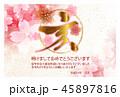 亥 亥年 桜のイラスト 45897816