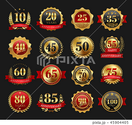 Anniversary golden signs set 45904405