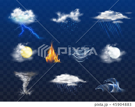 Weather forecast 3d realistic icons collection 45904883