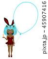 クリップアート イノシシのバニーガール 風船のフォトフレーム 年賀状パーツ 45907416