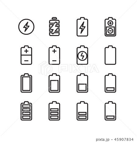 Electric battery, phone charging thin line vector icons 45907834