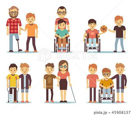 Disabled people and friends helping them vector set 45908137