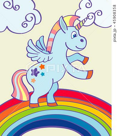 Vector hand drawn unicorn rainbow 45908358