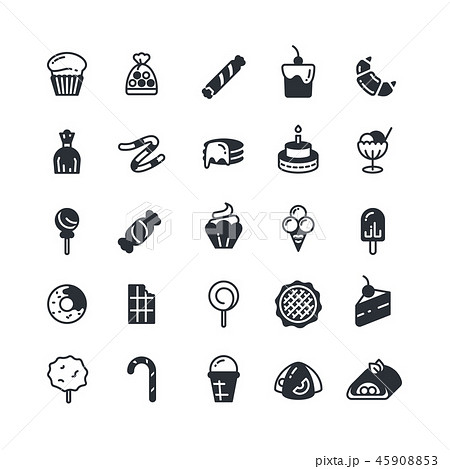 Dessert, pie, cupcake, cookie, biscuit, muffin vector icons 45908853