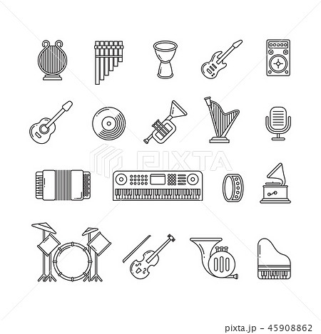 Music concert instruments thin line vector icons 45908862