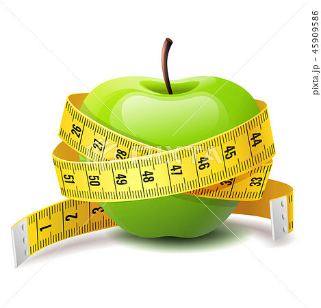 Realistic green apple with measure tape, fitness diet icon 45909586