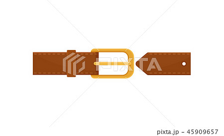 Brown leather belt with gold-plated metal buckle. Element of clothing. Flat vector icon on white 45909657