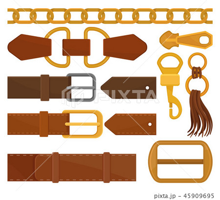 Flat vector set of different belt elements. Trendy leather waistbands, golden chain, zipper pull 45909695