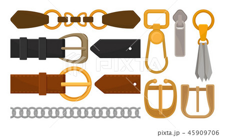 Flat vector set of belt elements. Stylish leather male and female waistbands, metal and golden 45909706