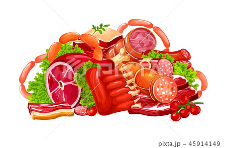 Meat, sausages and butchery delicatessen, vector 45914149
