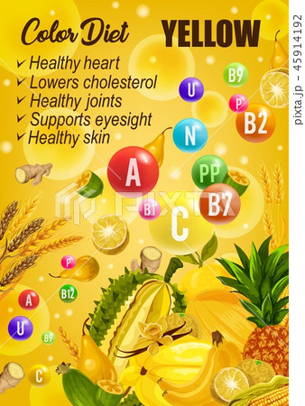 Color detox diet, yellow day food 45914192