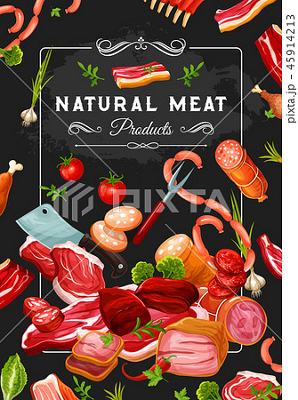 Butcher shop meat and veggies, steaks and knives 45914213