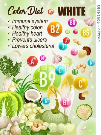 Detox color diet white fruits, vegetables vitamins 45914265