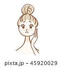 悩み スキンケア 女性のイラスト 45920029