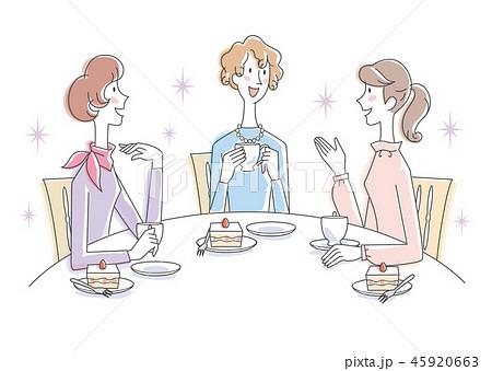 女性 3人 ティータイム イラスト 45920663