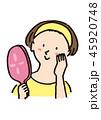 手鏡 女性 美顔のイラスト 45920748