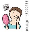 鏡を見る中年女性 45920755