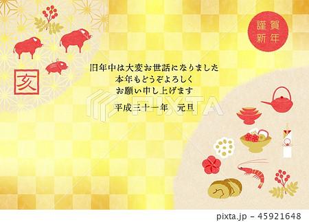 年賀2019お節と亥背景 45921648
