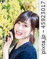 女性 ポートレート 花の写真 45923017