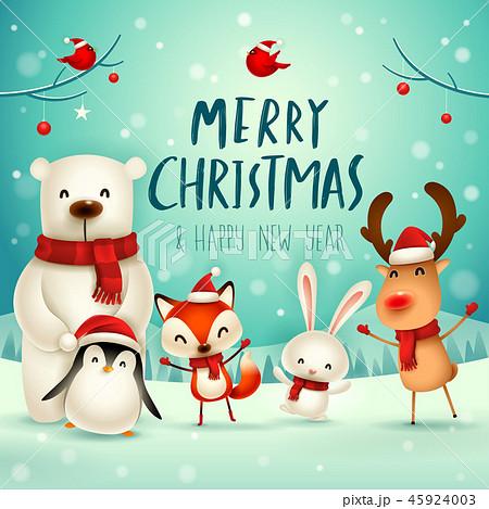 Merry Christmas! Christmas Cute Animals Character. 45924003