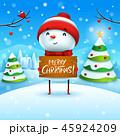 クリスマス ゆきだるま ボードのイラスト 45924209