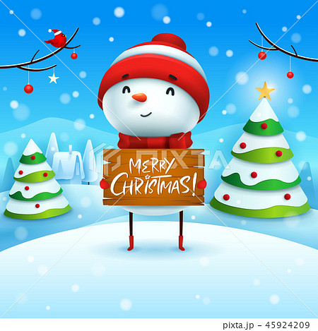 Merry Christmas! Snowman in the snow scene. 45924209