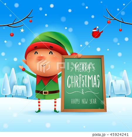 Merry Christmas! Little Elf in the snow scene. 45924241