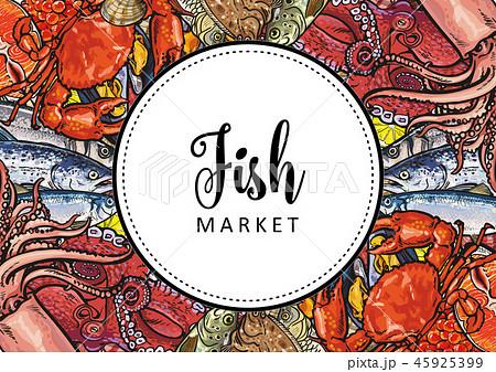 vector sketch underwater animal sea food pattern 45925399