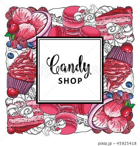 Candy shop square banner with hand drawn sweet confectionery products in sketch style. 45925418