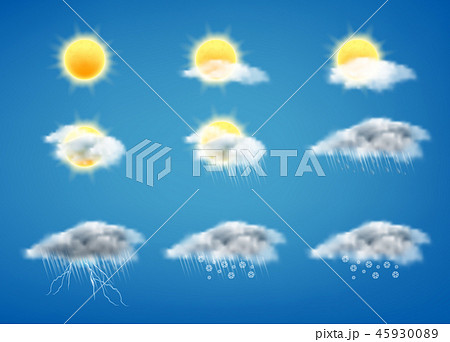 Vector 3d realistic set of weather forecast icons 45930089