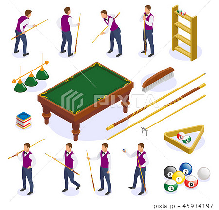 Billiards Isometric Icons Collection 45934197